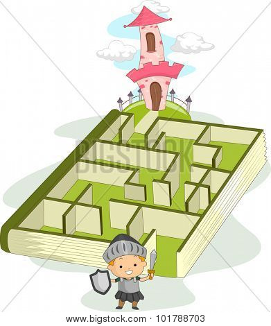 Illustration of a Little Boy Dressed as a Knight Navigating Through a Maze Leading to a Castle
