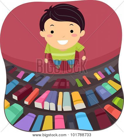 Illustration of a Little Boy Scanning the Books in the Library