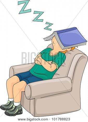 Illustration of a Little Boy Sleeping on a Chair with His Book Covering His Face