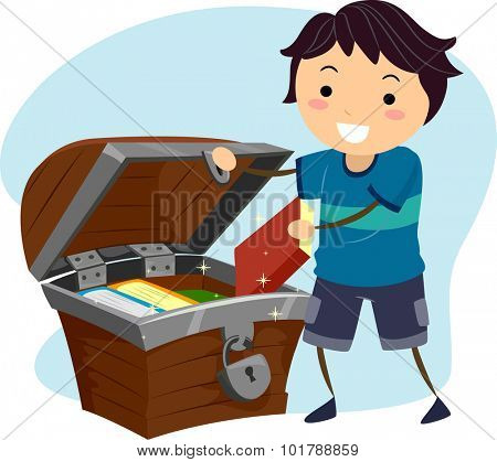Illustration of a Little Boy Hiding His Books Away in a Treasure Chest