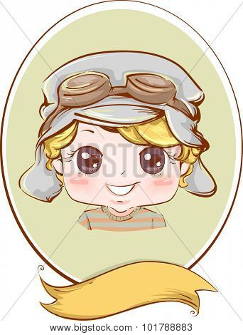 Retro Frame Illustration of a Boy Wearing an Aviator Hat