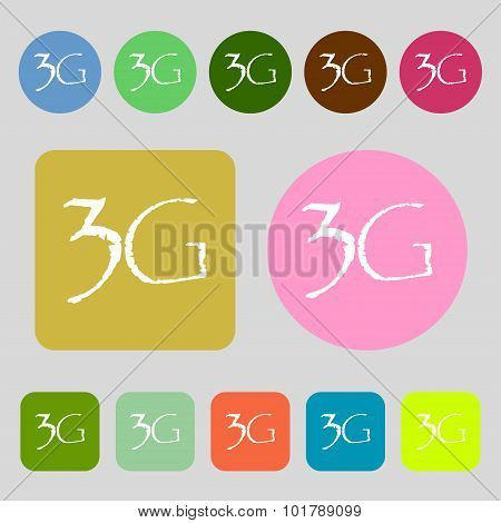 3G Sign Icon. Mobile Telecommunications Technology Symbol. 12 Colored Buttons. Flat Design. Vector