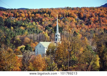Vermont Church and Fall Foliage