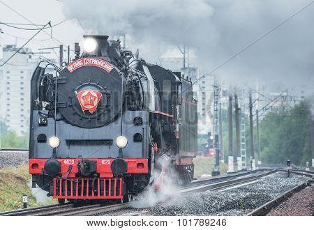 Old Retro Steam Locomotive.