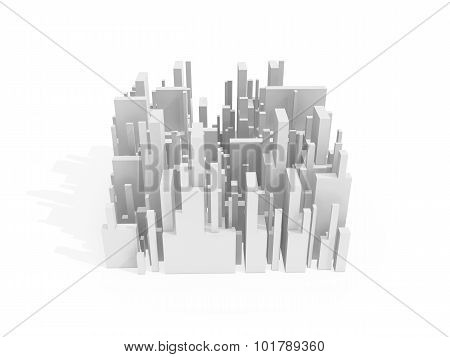 Abstract Schematic 3D Cityscape Quarter On White