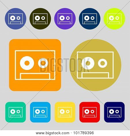 Cassette Sign Icon. Audiocassette Symbol. 12 Colored Buttons. Flat Design. Vector