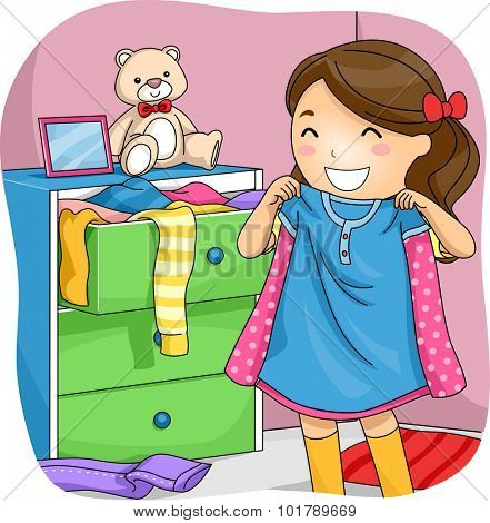 Illustration of a Little Girl Pulling Clothes from Her Drawer to Choose From