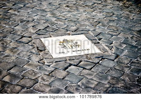 Exactly Marked Place On Square Of St. Peter's In The Vatican, Rome, Italy Where The Assassination Of