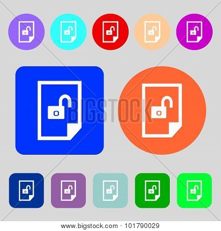 File Locked Icon Sign. 12 Colored Buttons. Flat Design. Vector