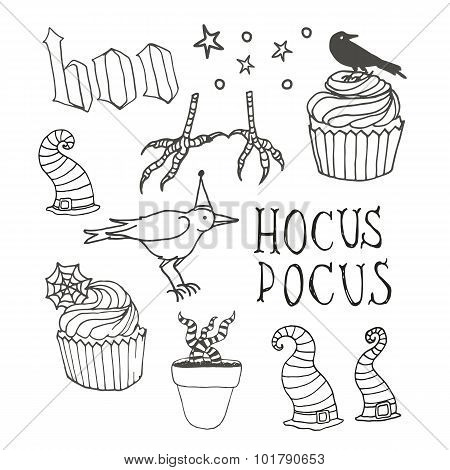 Line art set with halloween things - lettering, cupcakes, witch hats and raven. Set of vector hallow