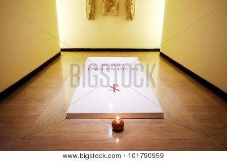 Vatican City, Vatican - October 29: Tomb Of Pope Paul Vi In The Crypt Beneath The Basilica Of St. Pe