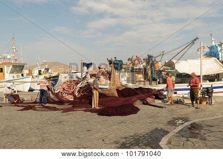 Paros, Greece 15 August 2015. Morning at Naoussa in Greece with fishermen doing their every day work