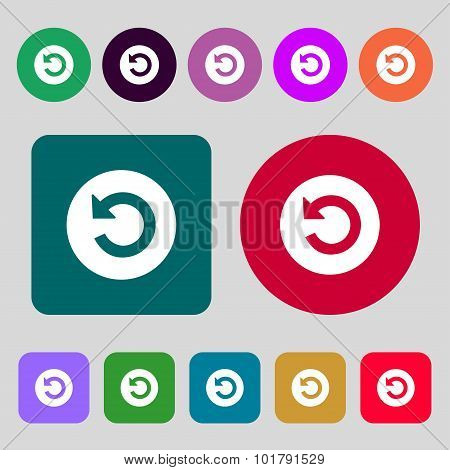 Upgrade, Arrow Icon Sign. 12 Colored Buttons. Flat Design. Vector