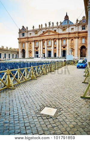Vatican City, Vatican - October 29: Exactly Marked Place On Square Of St. Peter's In The Vatican, Ro