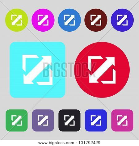 Deploying Video, Screen Size Icon Sign. 12 Colored Buttons. Flat Design. Vector