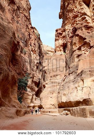 The 1.2km long path (Siq) to the city of Petra Jordan