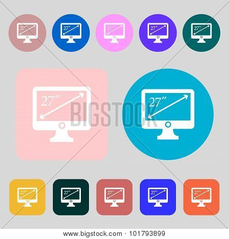 Diagonal Of The Monitor 27 Inches Icon Sign. 12 Colored Buttons. Flat Design. Vector