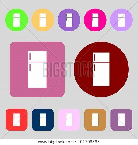 Refrigerator Icon Sign. 12 Colored Buttons. Flat Design. Vector