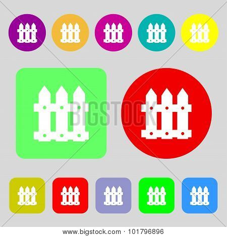 Fence Icon Sign. 12 Colored Buttons. Flat Design. Vector