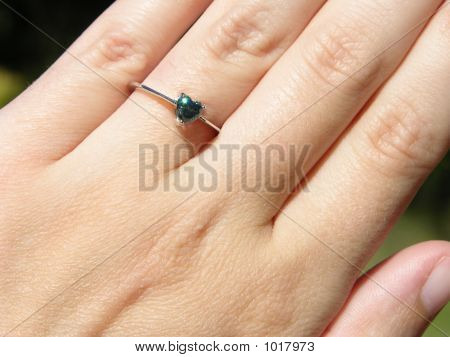 Sparkling Blue Diamond Heart Ring