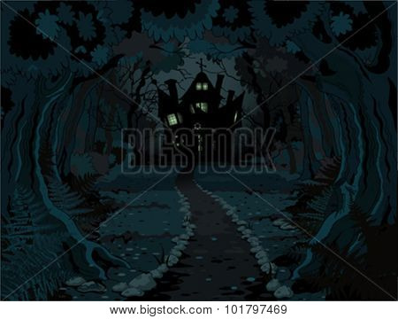 Illustration of spooky haunted house on night background
