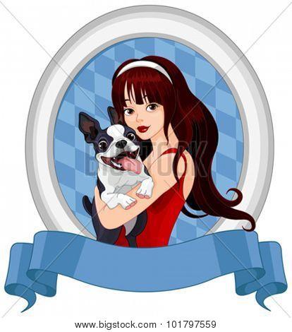 Illustration of girl holds Boston Terrier dog