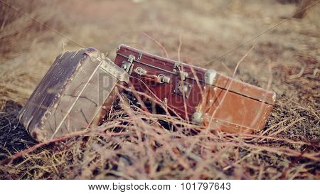 Two Old Fashioned A Suitcases