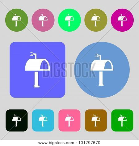 Mailbox Icon Sign. 12 Colored Buttons. Flat Design. Vector