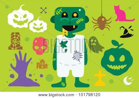 Monster pirate captain cartoon characters isolated vector silhouette. Cartoon monsters, pirate mascot flat. Halloween costume character, Halloween mascot. Monster kids costume, pirate cartoon character