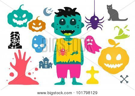Monster zombie cartoon characters isolated vector silhouette. Cartoon monsters, zombie cartoon flat. Halloween costume character,  Halloween mascot. Monster kids costume, zombie cartoon character