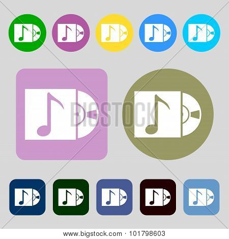 Cd Player Icon Sign. 12 Colored Buttons. Flat Design. Vector