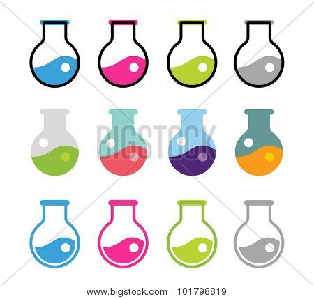 Laboratory equipment vector icons set. Lab icons isolated on white. Chemicals, lab icons, laboratory equipment, science icons, laboratory research, laboratory glassware, laboratory testing. Laboratory