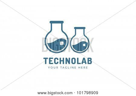 Laboratory equipment vector logo. Lab icon logo isolated on white. Chemicals, lab logo, laboratory equipment, science logo icon, technology logo, science logo. laboratory glassware logo. Testing glass