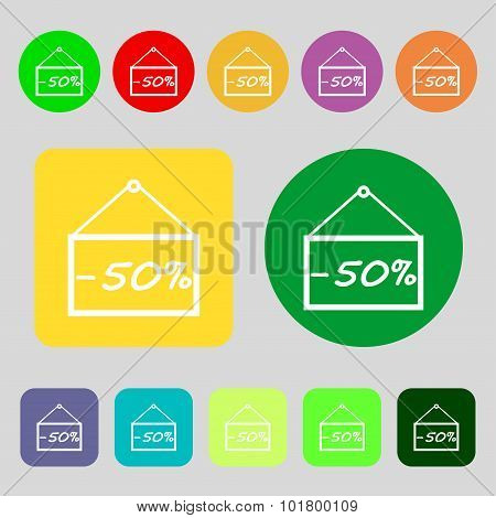 50 Discount Icon Sign. 12 Colored Buttons. Flat Design. Vector