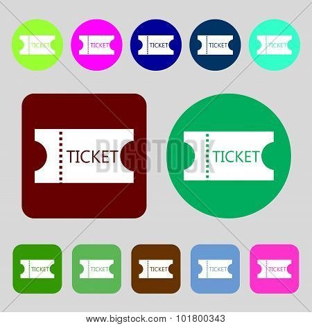 Ticket Icon Sign. 12 Colored Buttons. Flat Design. Vector