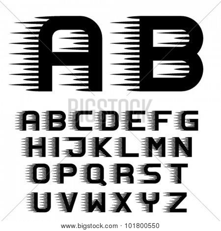 Speed font - vector, motion lines, alphabet letters