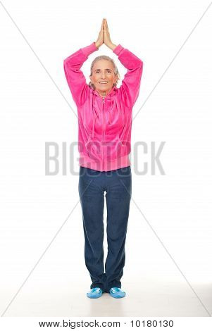 Aged Woman Doing Yoga
