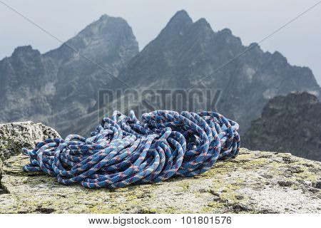 Blue Rope On The Background Of A Mountain Ridge