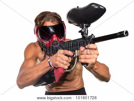 Very Cool Extreme Paintball Sportsman With Paint Gun Isolated