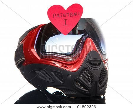 Paintball Mask With Heart Shape Sticker