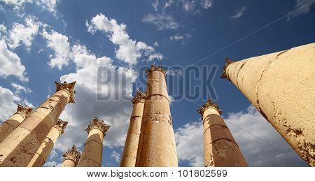 Roman Columns in the Jordanian city of Jerash
