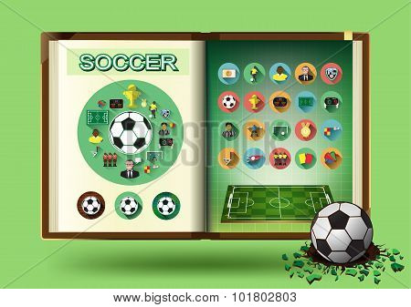 Soccer set on notebook page vector illustration