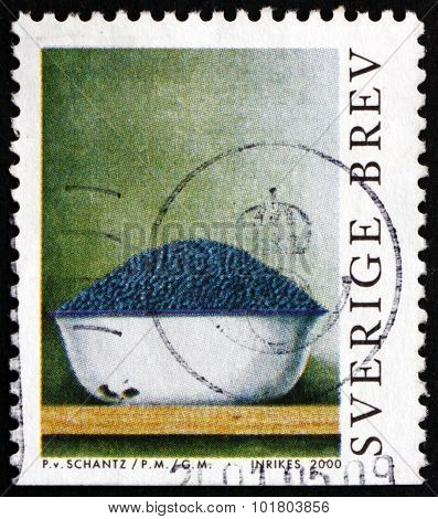 Postage Stamp Sweden 2000 A Bowl Of Blueberries