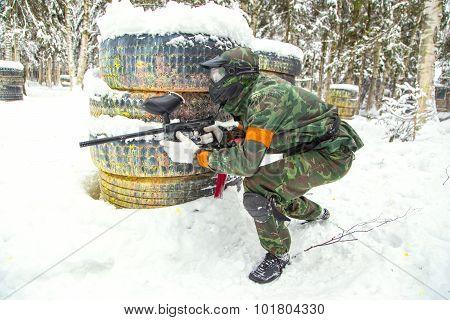 Experienced Hunter Looking For His Target On Snow