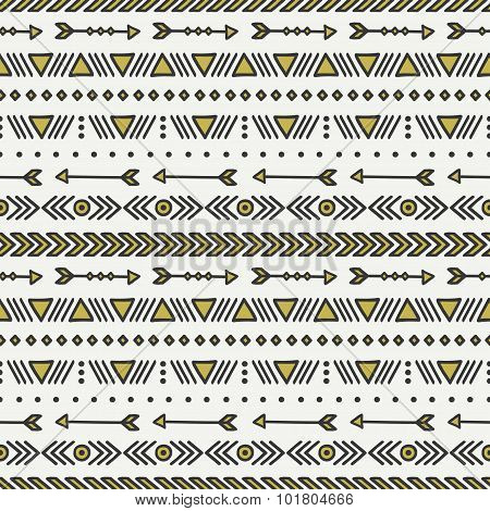 Hand drawn gold geometric ethnic seamless pattern. Wrapping paper. Scrapbook paper. Doodles style. T