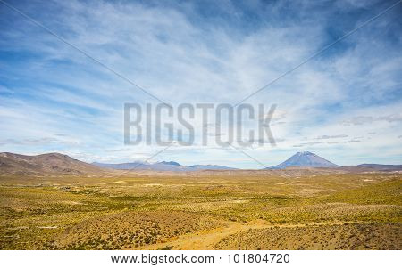High Altitude Andean Landscape With Scenic Sky