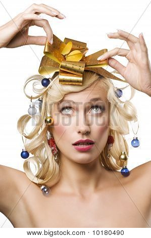 Blond Woman With A Golden Bow
