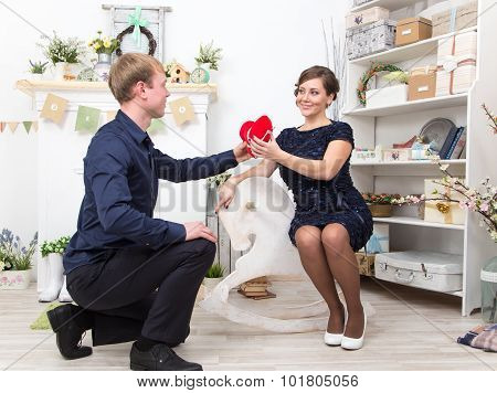 Handsome Gentleman Presents Heart To His Beautiful Lady On White Steed