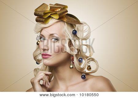 Girl With Christmas Tree Hair