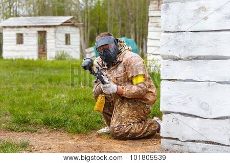 Paintball Player With Paint Gun
